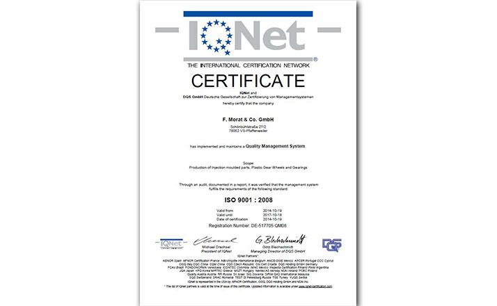 Certificate IQ Net Pfaffenweiler