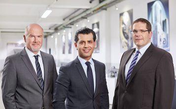 (v.l.n.r.: Gökhan Balkis, Geschäftsführer der Franz Morat Group / Dr. Matthias Dannemann, Operativer Geschäftsführer Framo Morat / Jörg Hansen, Operativer Geschäftsführer F. Morat)