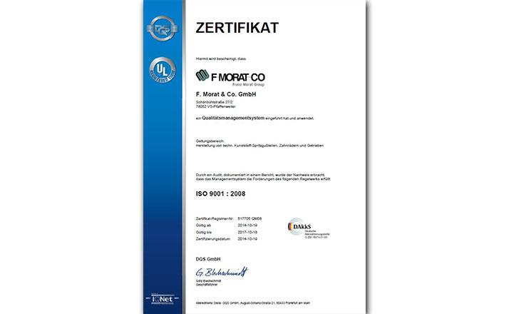 Zertifikat DQS ISO 9001 2008 Pfaffenweiler
