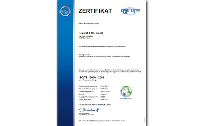 Zertifikat ISO TS 16949 2009 Eisenbach